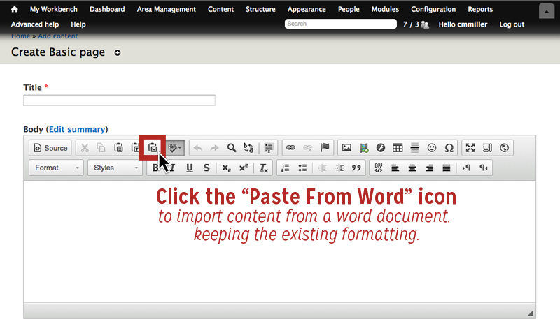 Click the Paste From Word Icon to import content from a Word document on the rich text editor toolbar to retain formatting